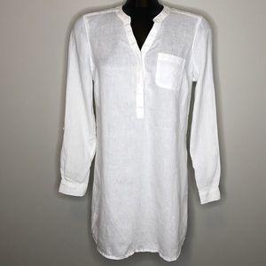 ESSENTIALS COLLECTION white 100% linen tunic L